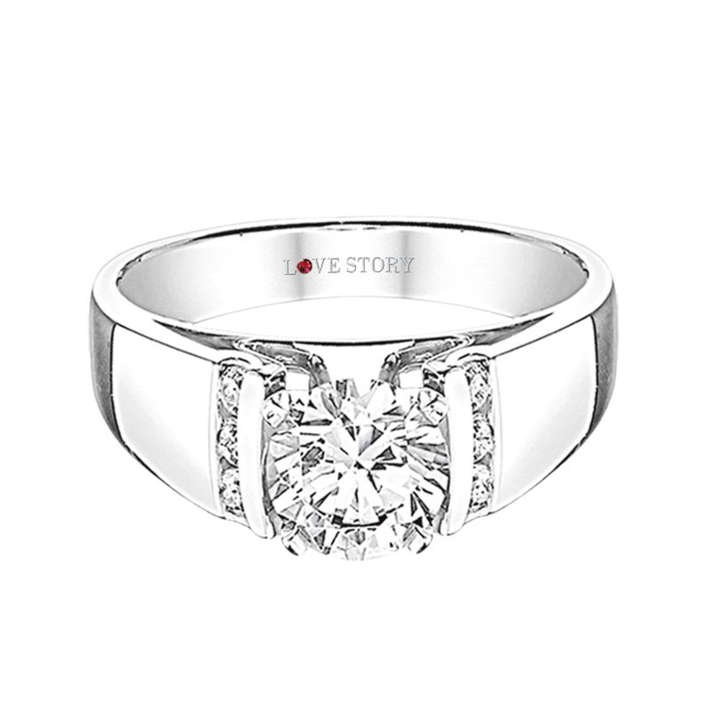 Love Story Diamonds Wide Band Engagement Ring by Love Story