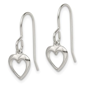 Sterling Silver Heart Dangle Shepherd Hook Earrings