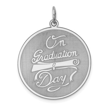 Sterling Silver Rhodium-plated On Graduation Day Disc Charm