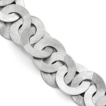Leslie's Sterling Silver Scratch Finish Fancy Link Bracelet w/1in ext