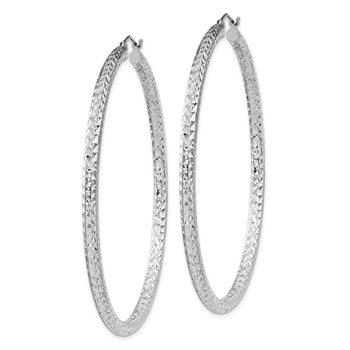 Sterling Silver Rhodium-plated D/C 3x60mm Hoop Earrings