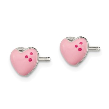Sterling Silver Polished & Enameled Heart Post Earrings