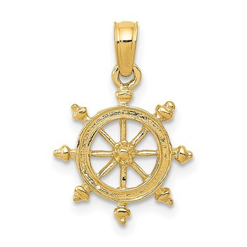 14k Ship Wheel Pendant