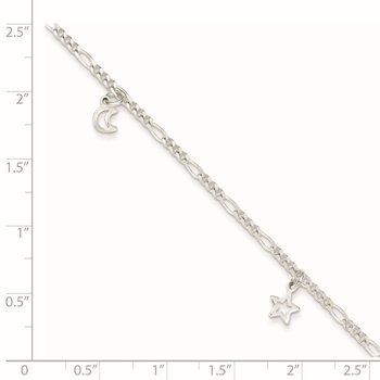 Sterling Silver Polished Star and Moon 9in Plus 1in Ext. Anklet