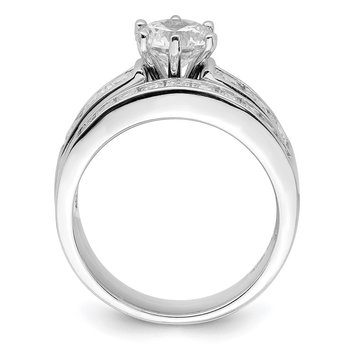 Sterling Silver Rhodium-plated CZ 2 Piece Wedding Ring Set