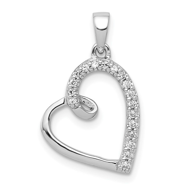Quality Gold 14k White Gold Diamond Heart Pendant
