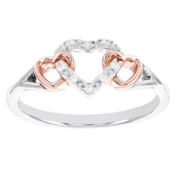 Sterling Silver and Rose-plated Diamond Accent Heart Promise Ring