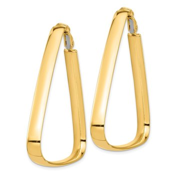 14k High Polished 5mm Triangle Hoop Earrings