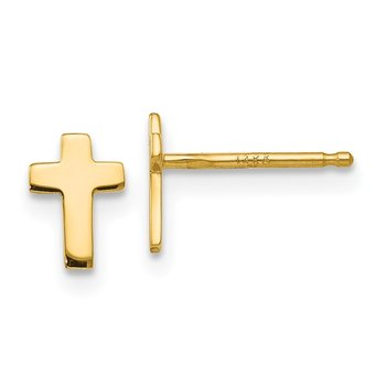 14k Polished Cross Post Earrings