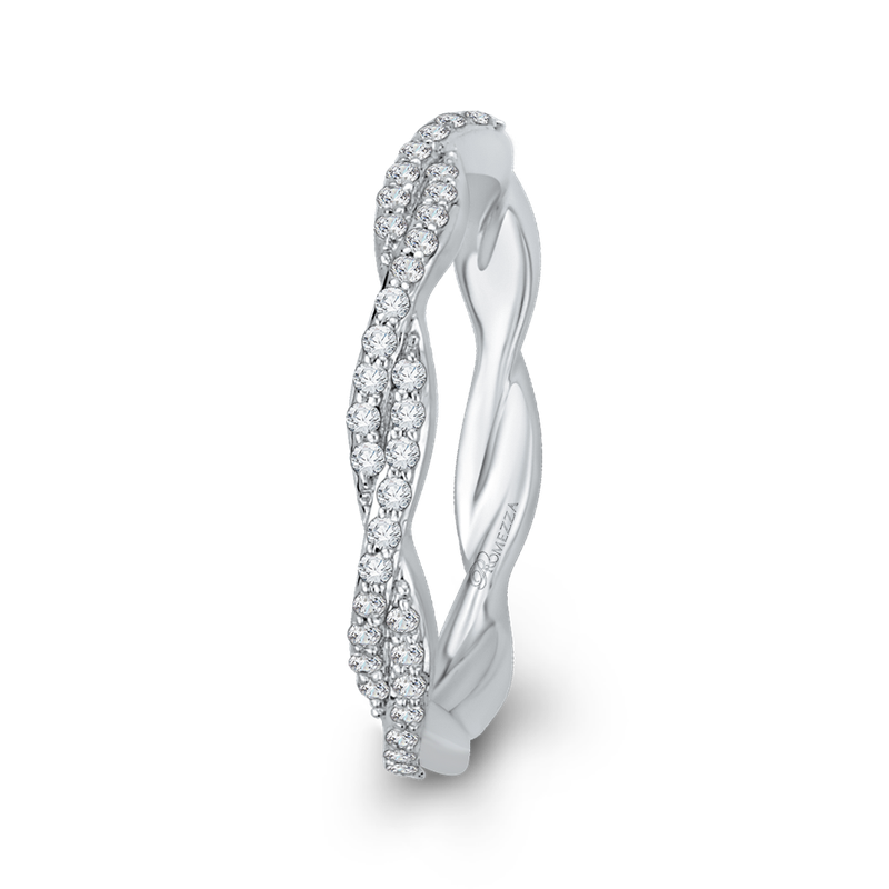 Promezza 14K White Gold Round Diamond Criss-Cross Wedding Band