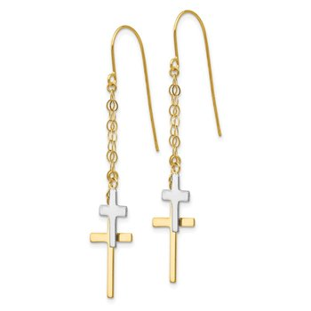 14K Two-tone Chain Dangle Cross Shepherd Hook Earrings