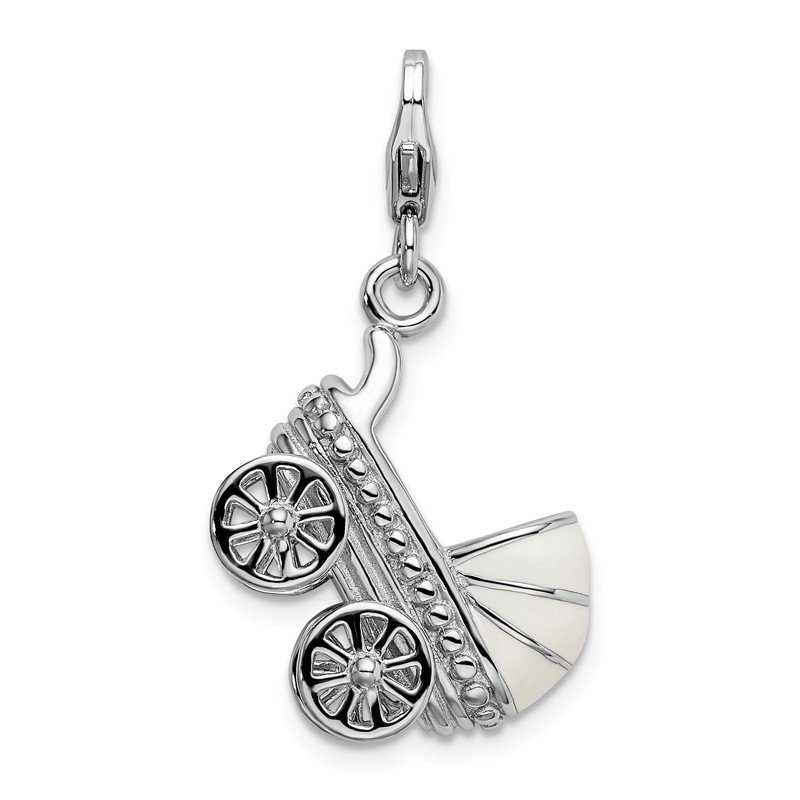 Quality Gold Sterling Silver 3-D Enameled Baby Carriage w/Lobster Clasp Charm