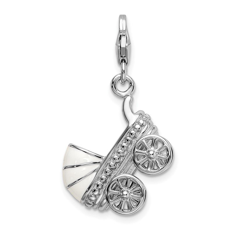 Quality Gold Sterling Silver Amore La Vita Rhod-pl 3-D Enameled Baby Carriage Charm