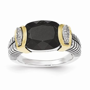 Sterling Silver w/14k Black Onyx and Diamond Ring