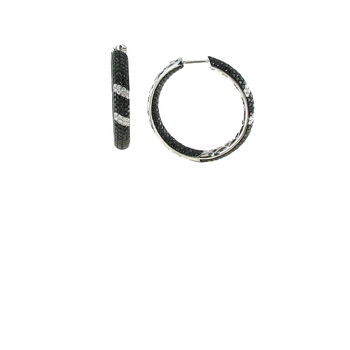 18KT GOLD BLACK AND WHITE DIAMOND STRIPE HOOPS