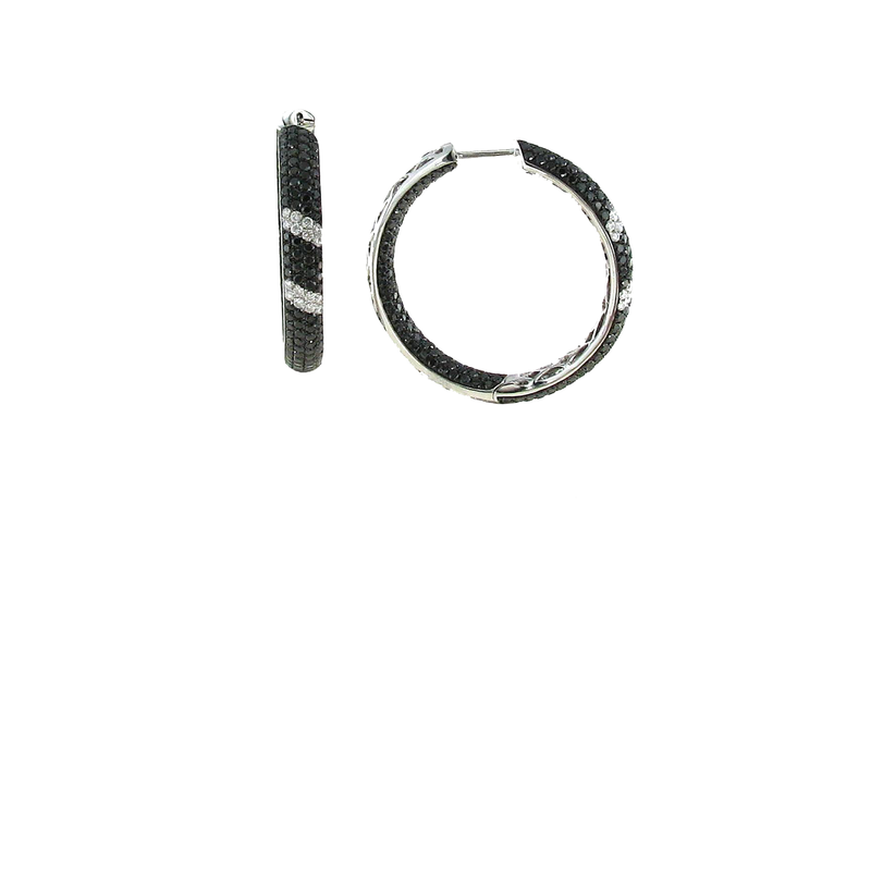 Roberto Coin 18Kt Gold Black And White Diamond Stripe Hoops
