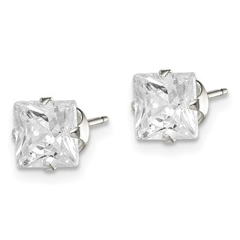 Sterling Silver 6mm Square Snap Set CZ Stud Earrings