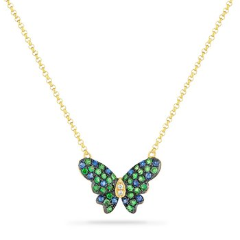 14K BUTTERFLY NECKLACE WITH 14 BLUE SAPPHIRES 0.17CT, 2 DIAMONDS 0.01CT & 30 GREEN GARNET 0.36CT 18 INCHES LENGHT