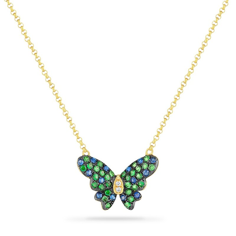Shula NY 14K BUTTERFLY NECKLACE WITH 14 BLUE SAPPHIRES 0.17CT, 2 DIAMONDS 0.01CT & 30 GREEN GARNET 0.36CT 18 INCHES LENGHT