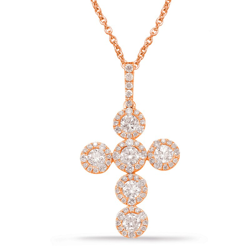S. Kashi  & Sons Rose Gold Diamond Cross Pendant