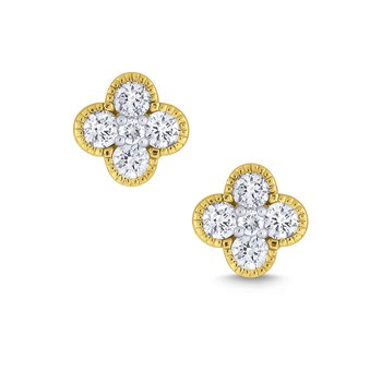 Diamond Clover Stud Earrigns, large