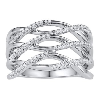 10kt White Gold Womens Round Diamond Openwork Crossover Strand Band Ring 1/4 Cttw