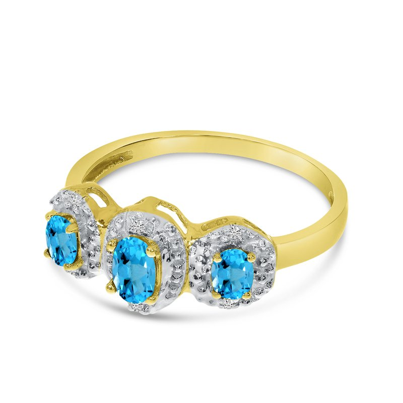 Color Merchants 10k Yellow Gold Oval Blue Topaz And Diamond Three Stone Ring