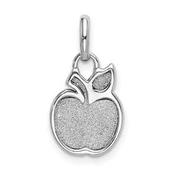 Sterling Silver Rhod-plated Polished Enamel & Glitter Fabric Apple Charm