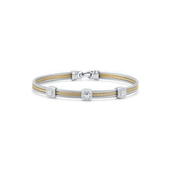 Grey & Yellow Cable Classic Stackable Bracelet with Triple Square Station set in 18kt White Gold