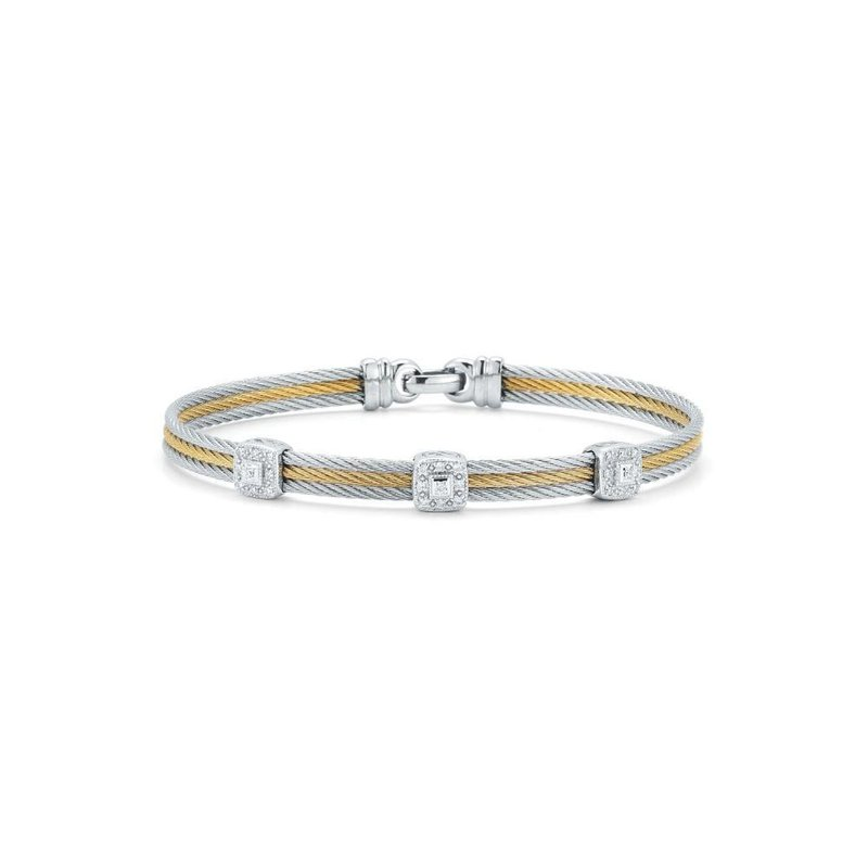 ALOR Grey & Yellow Cable Classic Stackable Bracelet with Triple Square Station set in 18kt White Gold