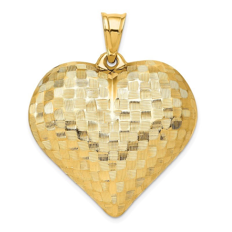 Lester Martin Online Collection 14K Polished Basket Weave Pattern 3-D Heart Pendant