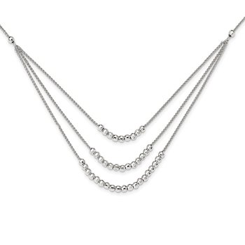 Sterling Silver Beaded Multi Layer Necklace