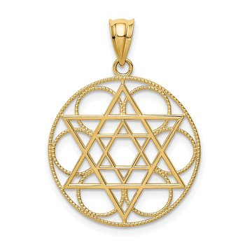 14k Star of David Circle Pendant