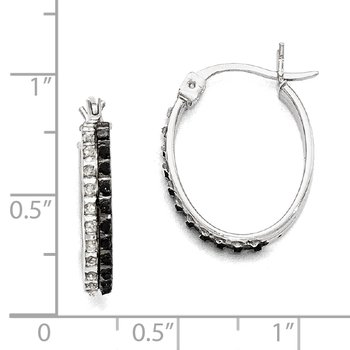 Sterling Silver Diamond Mystique Black/White Dia Oval Hinged Hoop Earrings