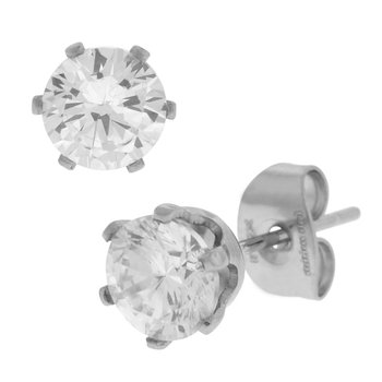 Prong Set Clear CZ Steel Stud Earrings (Unisex)