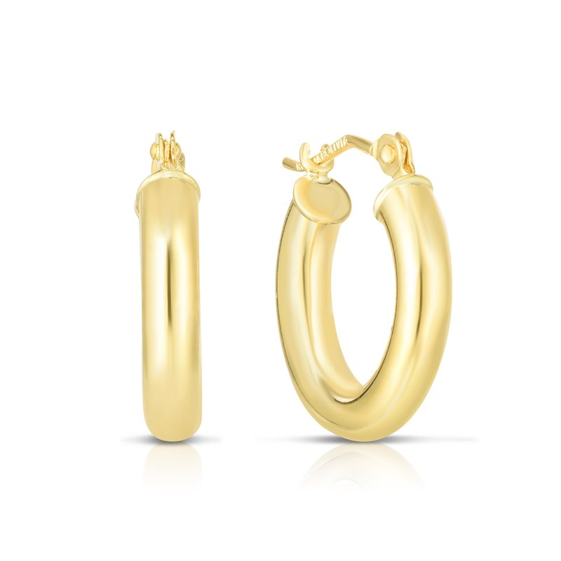 Royal Chain 10K Gold 3x15mm Hoop Earring