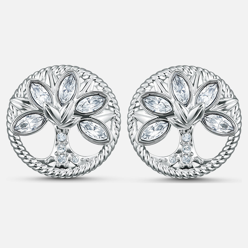 Swarovski Swarovski Symbolic Tree of Life Stud Pierced Earrings, White, Rhodium plated