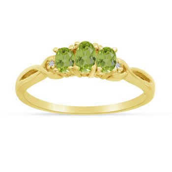 14k Yellow Gold Oval Peridot And Diamond Three Stone Ring