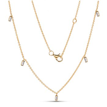 14K Diamond by the yard necklace 5 baguette Diamonds 0.25C