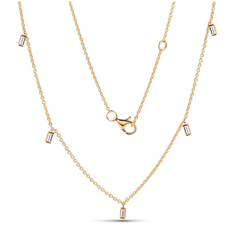 Shula NY 14K Diamond by the yard necklace 5 baguette Diamonds 0.25C