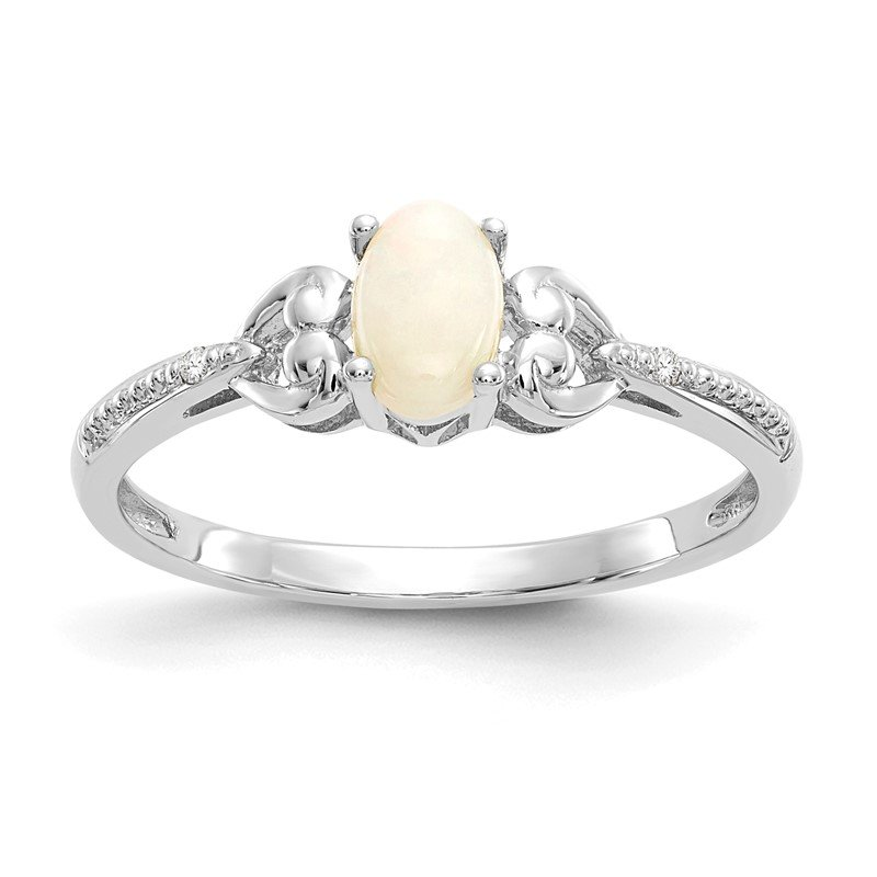 Quality Gold 10k White Gold Opal and Diamond Ring