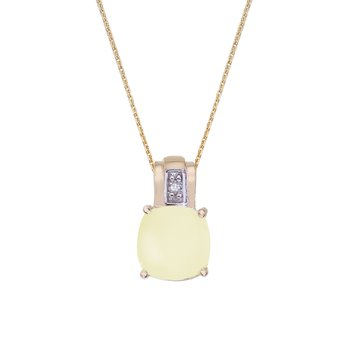 14k Yellow Gold Oval Frosted Cushion Cut Lemon Quartz and Diamond Pendant