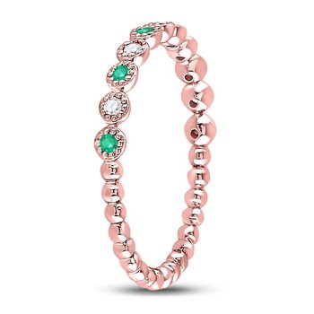 10kt Rose Gold Womens Round Emerald Diamond Dot Stackable Band Ring 1/6 Cttw