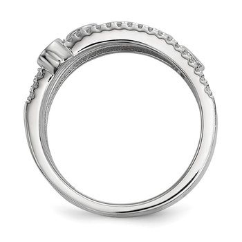Sterling Silver Rhodium-plated CZ Ring