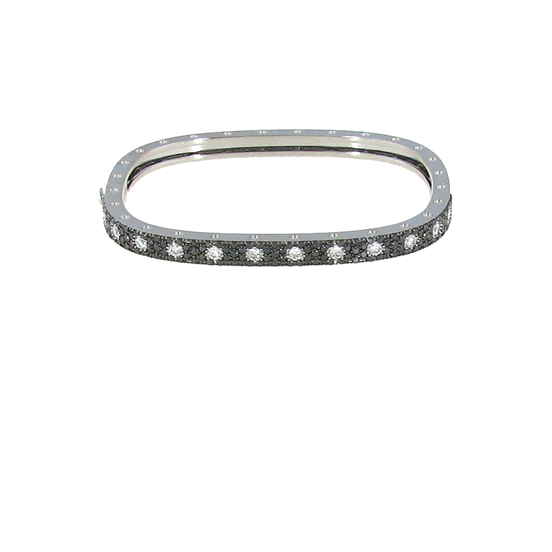 Roberto Coin 18Kt Gold 1 Row Bangle With Black And White Diamonds
