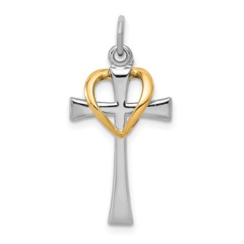 Sterling Silver Rhodium-plated & Gold-tone Polished Cross w/Heart Pendant
