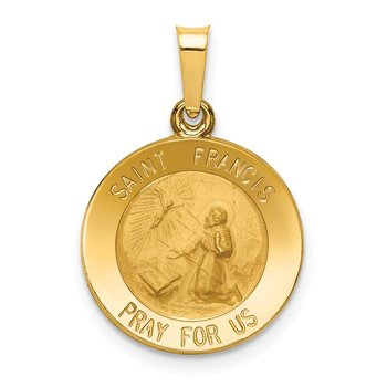 14k Polished and Satin St Francis Medal Hollow Pendant
