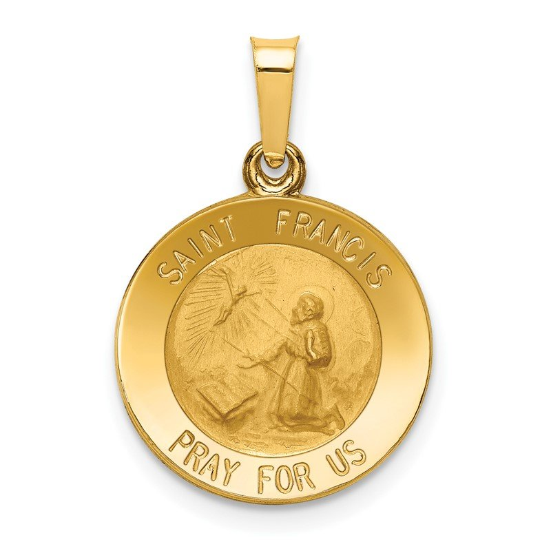 Quality Gold 14k Polished and Satin St Francis Medal Hollow Pendant