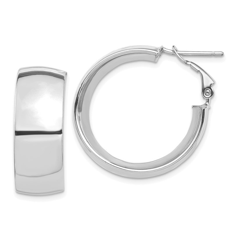 Quality Gold 14k White Gold High Polished 10mm Omega Back Hoop Earrings