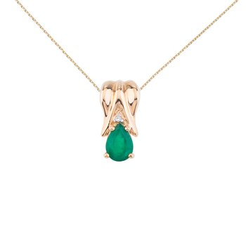 14k Yellow Gold Emerald Pear Pendant with Diamonds